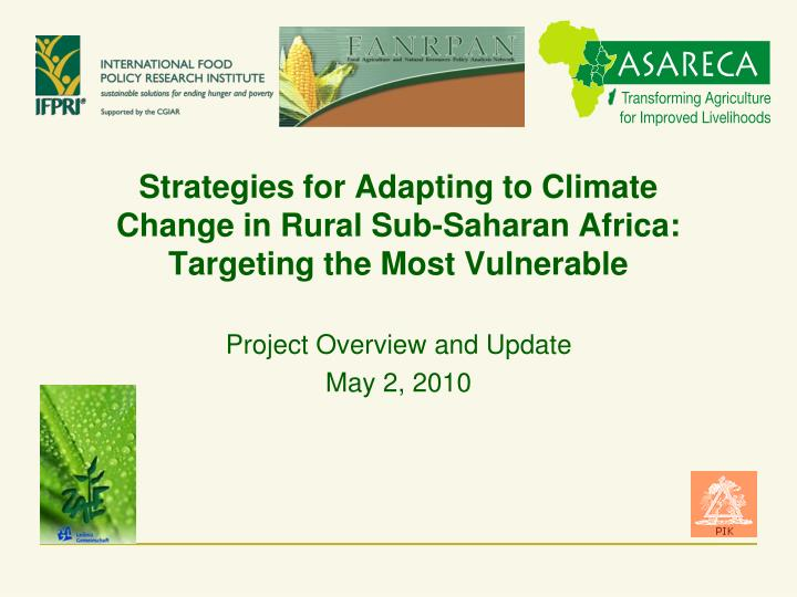 Strategies for adapting to climate change in rural sub saharan africa targeting the most vulnerable