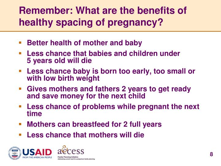 Remember: What are the benefits of healthy spacing of pregnancy?