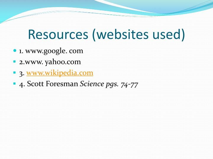 Resources (websites used)