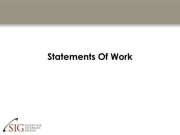Statements of work