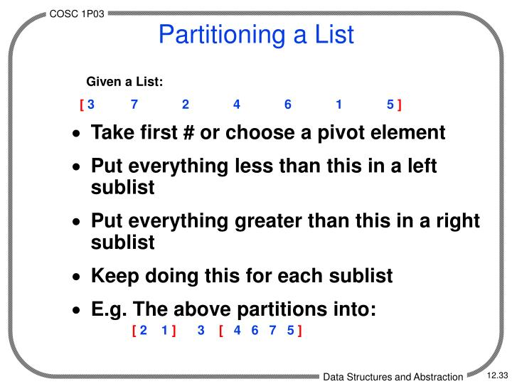 Partitioning a List