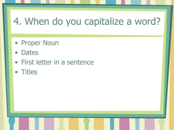 do you capitalize mom and dad in a formal essay Best answer: the easiest way to remember when mom and dad must be capitalized is to consider what the sentence would sound like if you substitute real names in place of mom and dad if the sentence makes sense when the real names are substituted - then you must capitalize mom and dad.