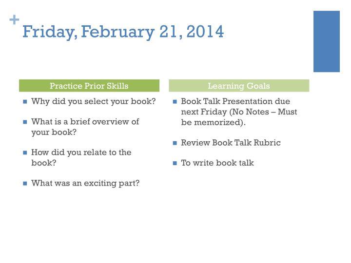 Friday, February 21, 2014