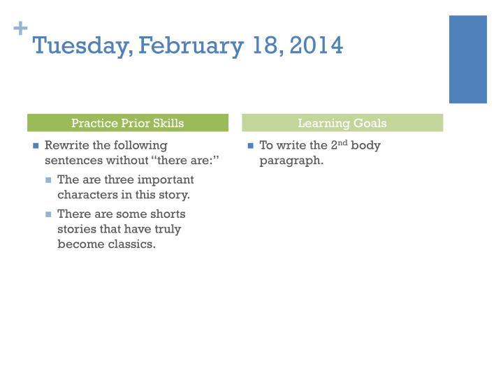 Tuesday, February 18, 2014