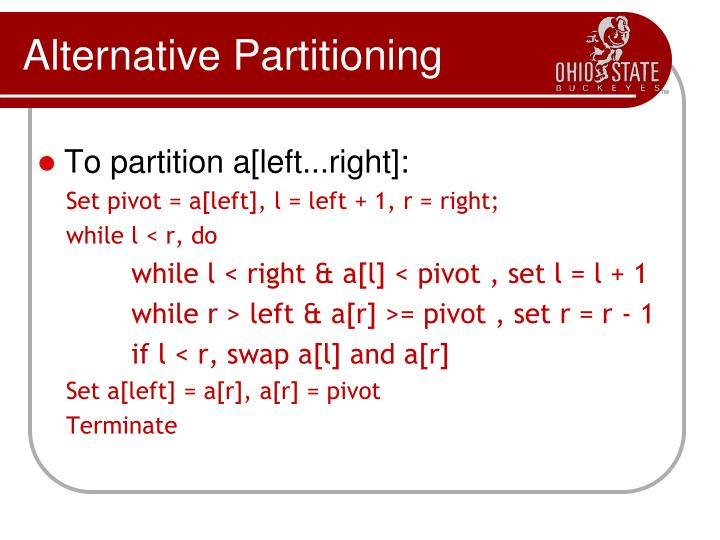 Alternative Partitioning
