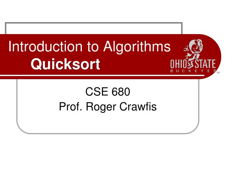 Introduction to algorithms quicksort