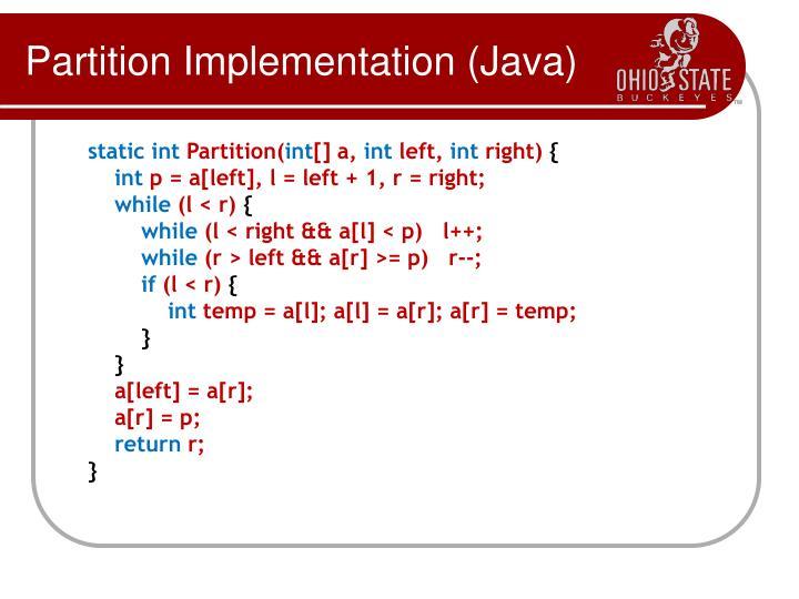 Partition Implementation (Java