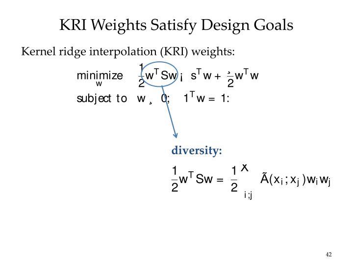 KRI Weights Satisfy Design Goals