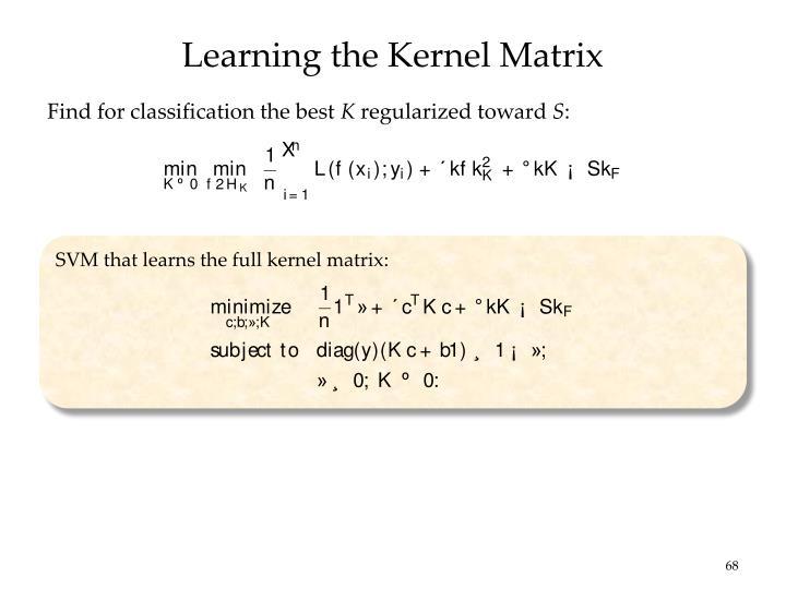 Learning the Kernel Matrix