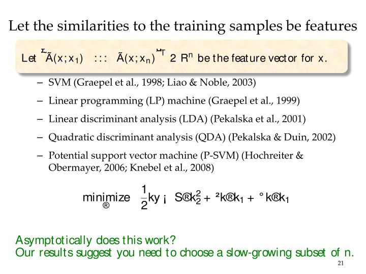 Let the similarities to the training samples be features