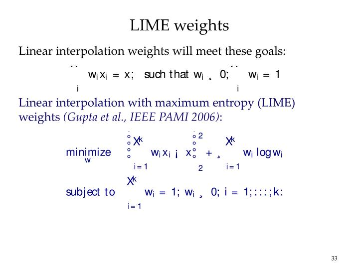 LIME weights