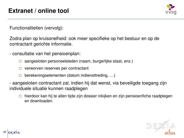 Extranet / online tool