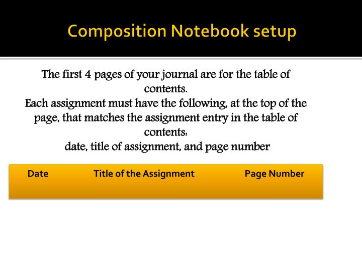 Composition Notebook setup