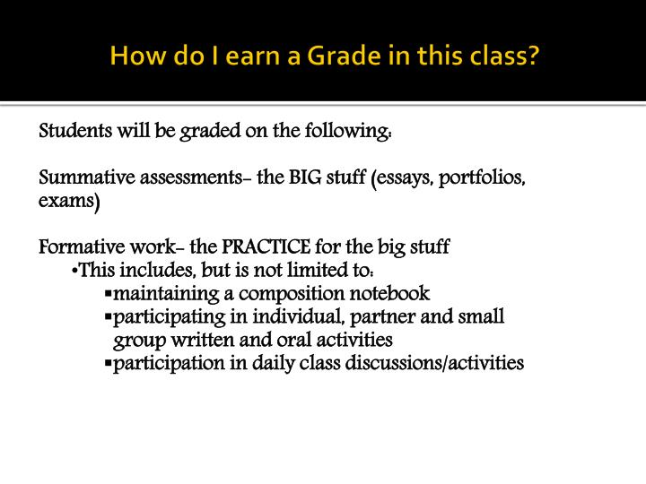 How do I earn a Grade in this class?