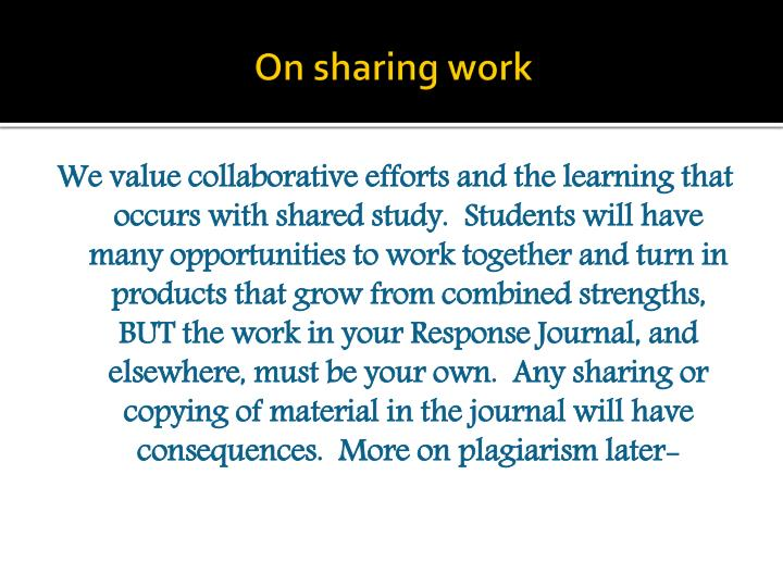 On sharing work