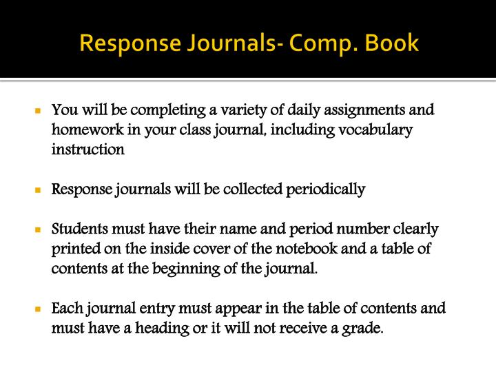 Response Journals- Comp. Book