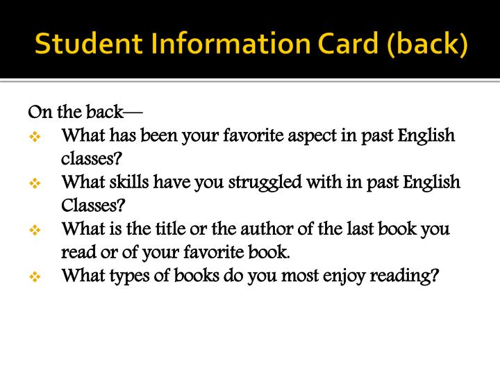Student information card back