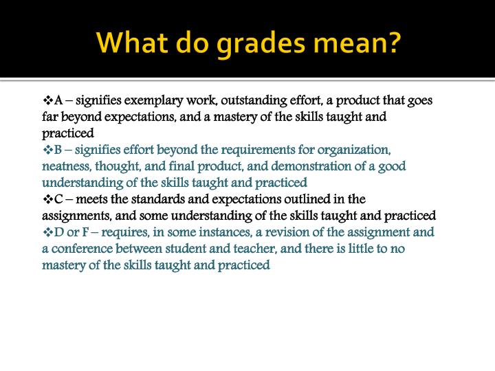 What do grades mean?
