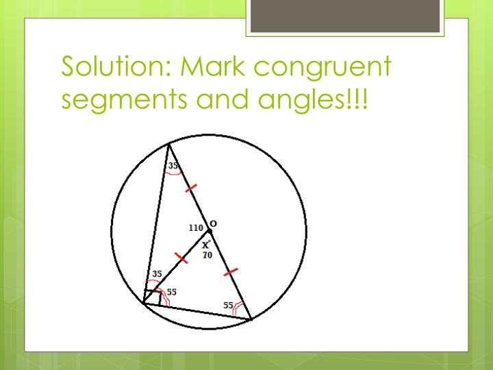 Solution: Mark congruent segments and angles!!!