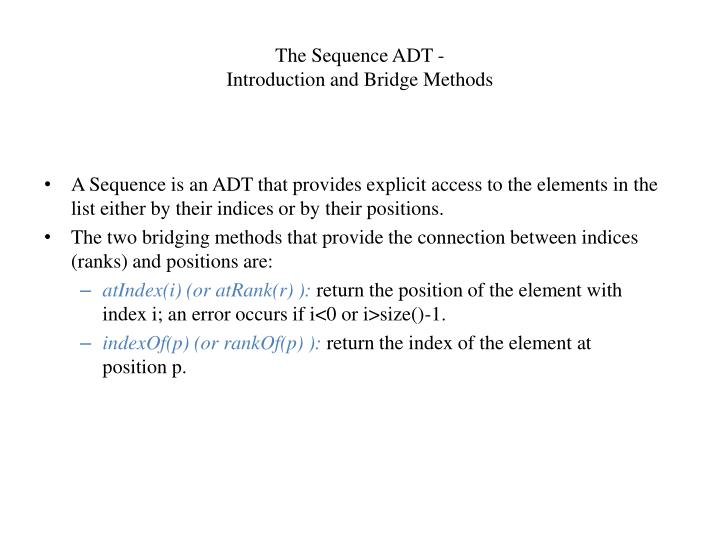 The Sequence ADT