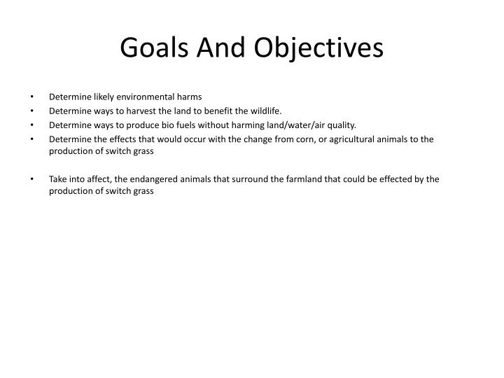 goals and objectives n.