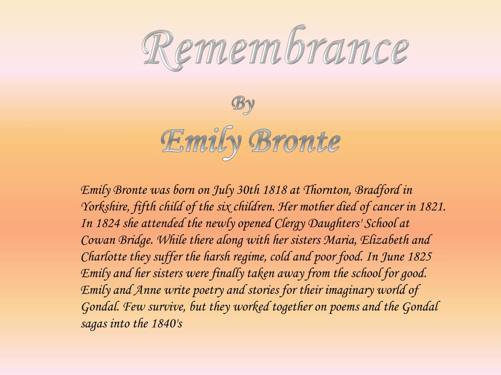 remembrance emily bronte literary devices