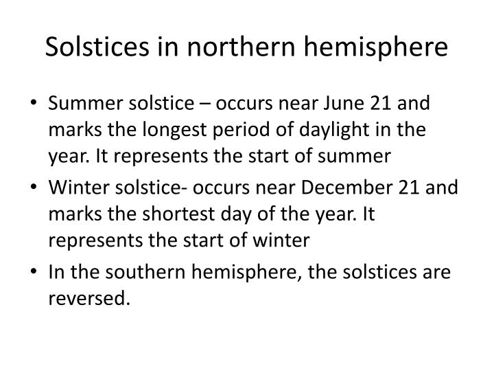 Solstices in northern hemisphere