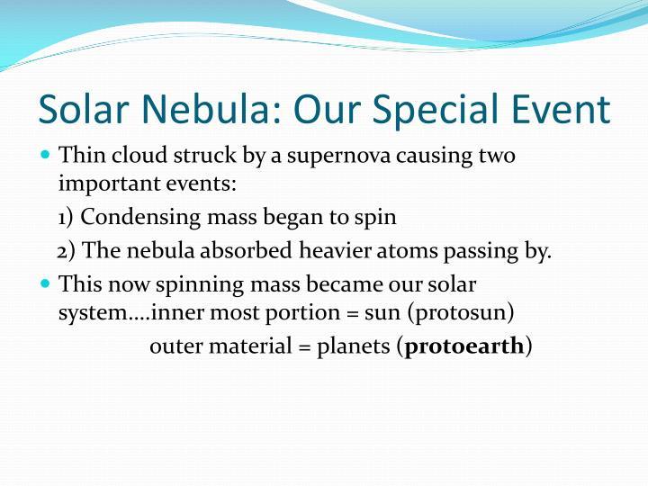Solar Nebula: Our Special Event