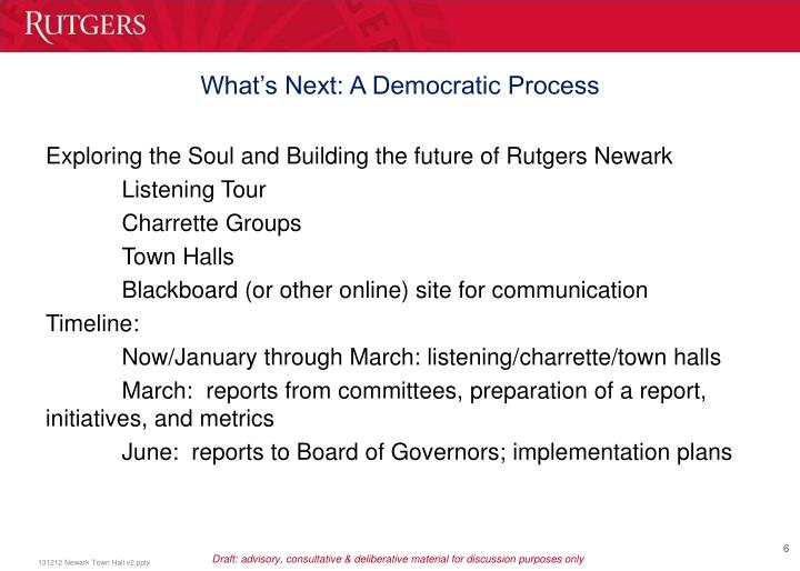 What's Next: A Democratic Process