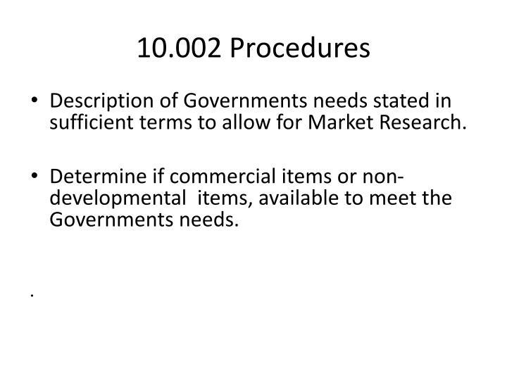 10.002 Procedures