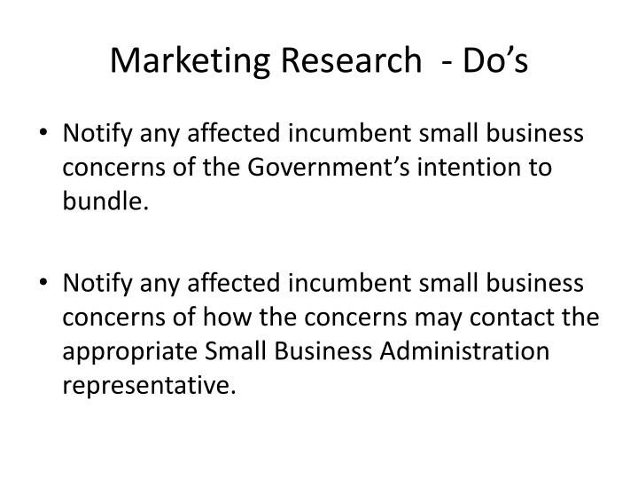 Marketing Research  - Do's