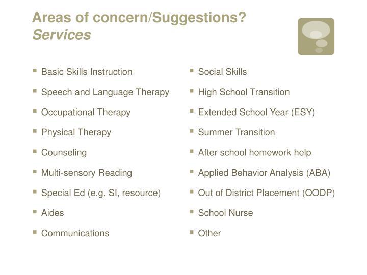 Areas of concern/