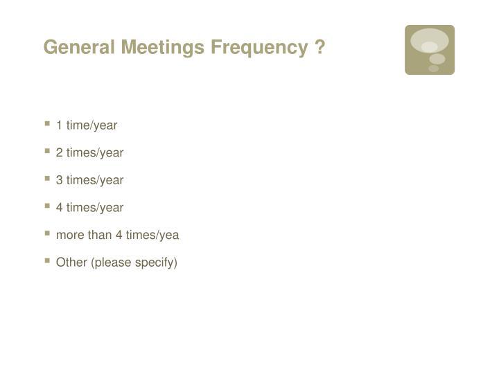 General Meetings Frequency ?