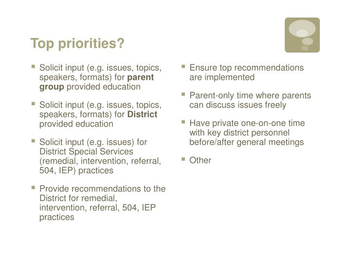 Top priorities?