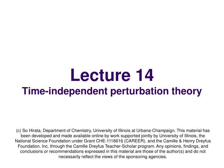 lecture 14 time independent perturbation theory n.