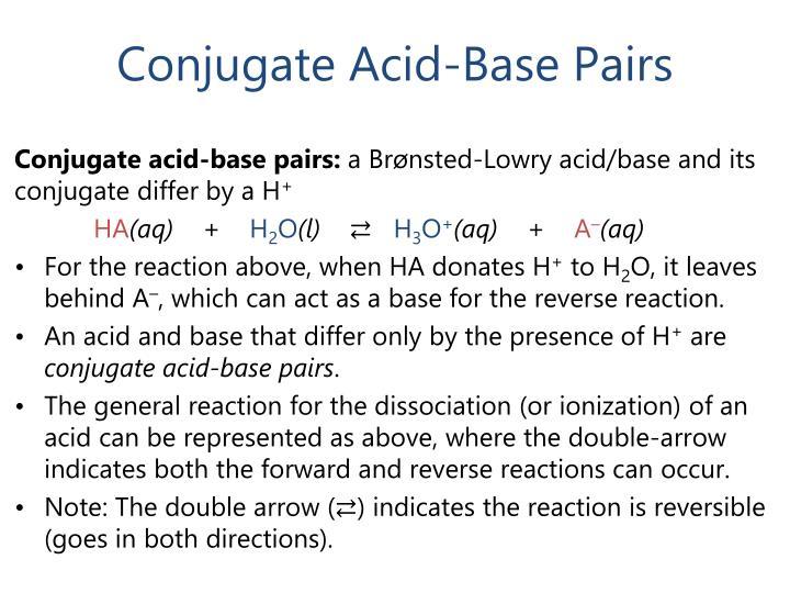 Conjugate Acid-Base Pairs