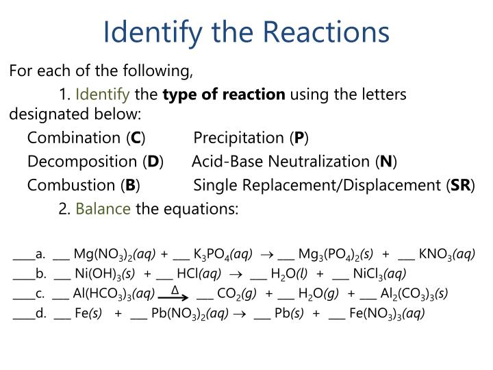 Identify the Reactions