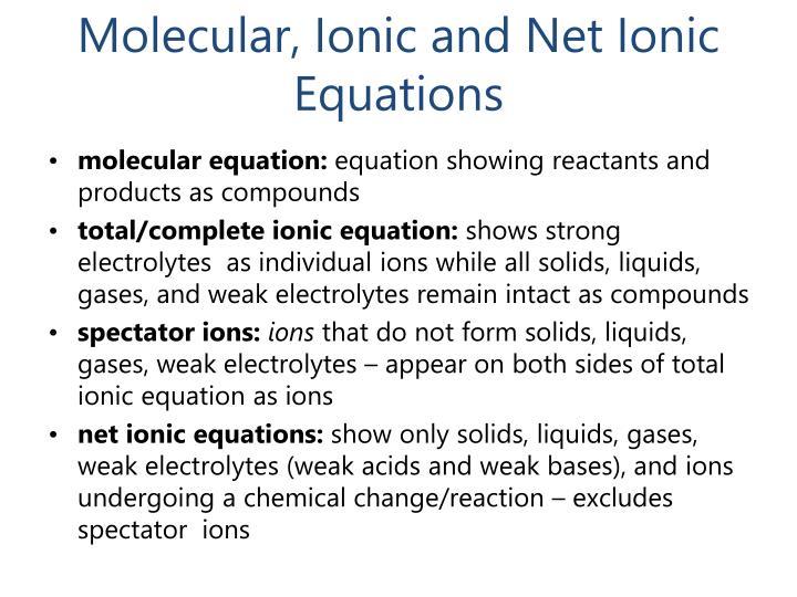 Molecular, Ionic and Net Ionic Equations