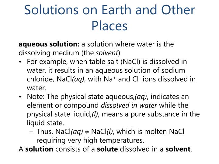 Solutions on earth and other places