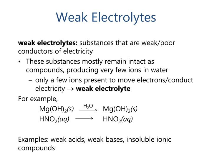 Weak Electrolytes