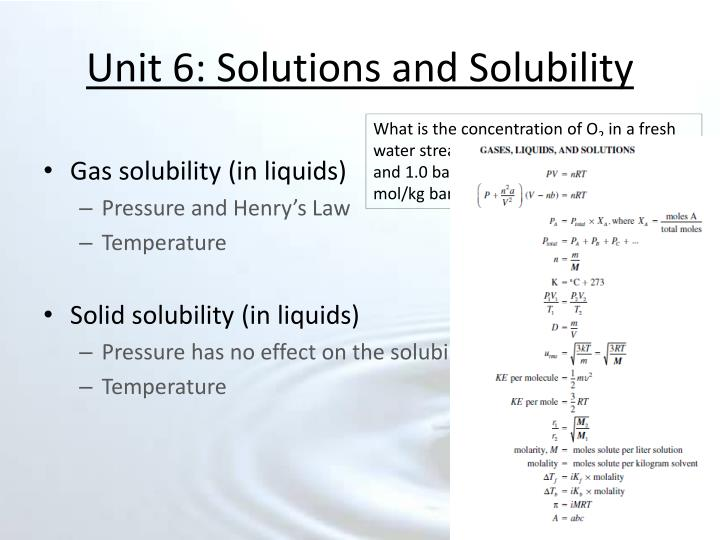 Unit 6 solutions and solubility2