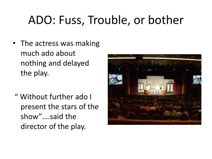 ADO: Fuss, Trouble, or bother