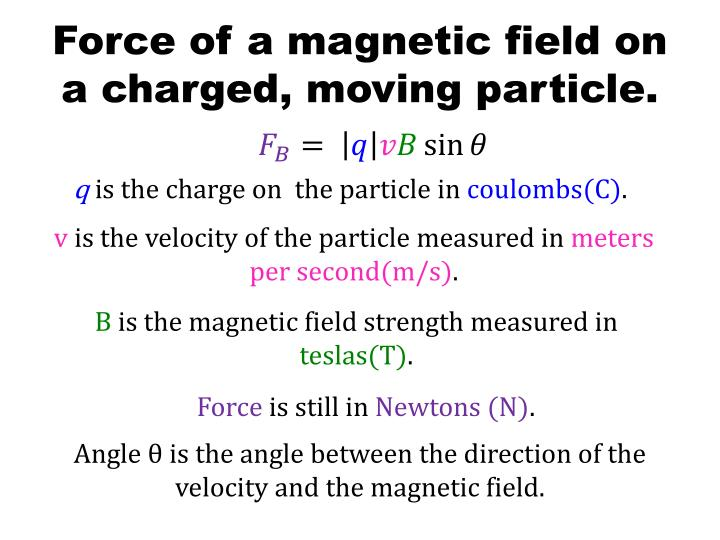 Force of a magnetic field on a charged, moving particle.
