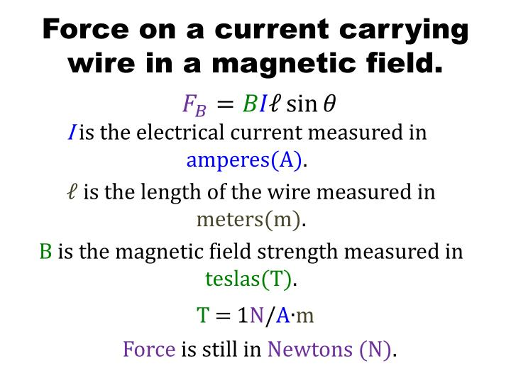Force on a current carrying wire in a magnetic field.