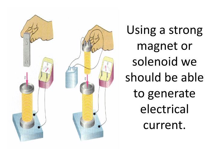 Using a strong magnet or solenoid we should be able to generate electrical current.