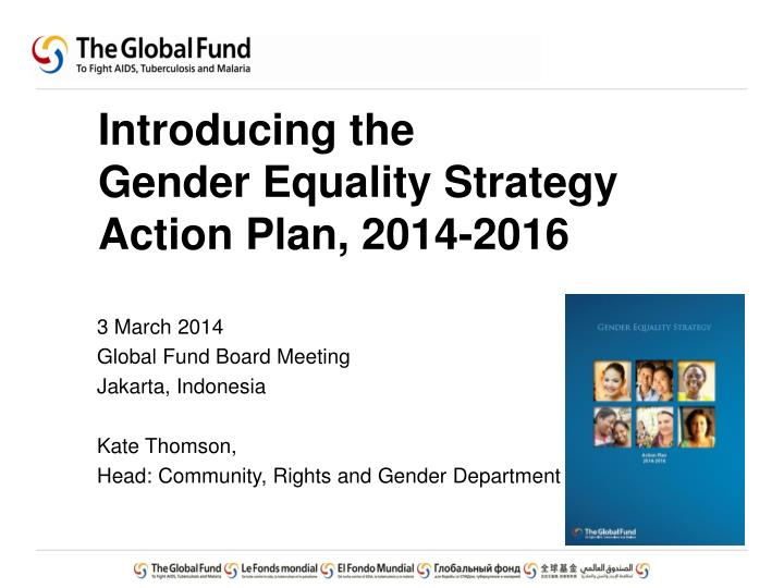 introducing the gender equality strategy action plan 2014 2016 n.