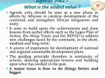 agenda 2063 what is the added value
