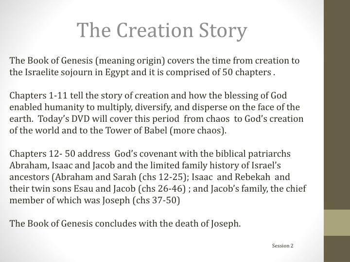 The Book of Genesis (meaning origin) covers the time from creation to the Israelite sojourn in Egypt and it is comprised of 50 chapters .