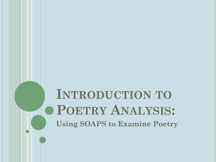 Introduction to poetry analysis