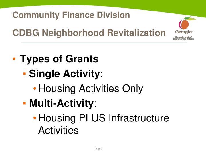 Cdbg neighborhood revitalization